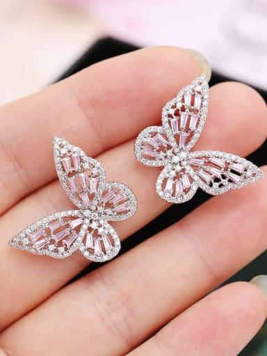 Platinum powder diamond Brass Cubic Zirconia Butterfly Statement Stud Earring