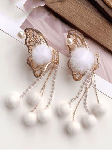 Alloy  Hair Ball Hair Accessories Butterfly hairpin White fur ball tassel grabbing clip Jaw Hair Claw