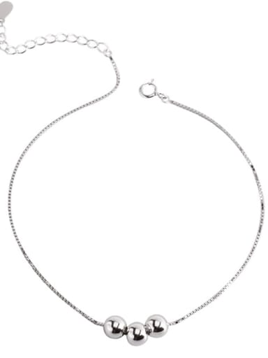 925 Sterling Silver Round Minimalist  Bead Anklet