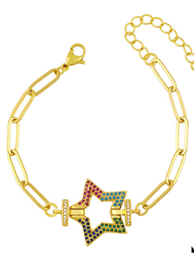 B Brass Cubic Zirconia  Hollow Star Vintage Link Bracelet