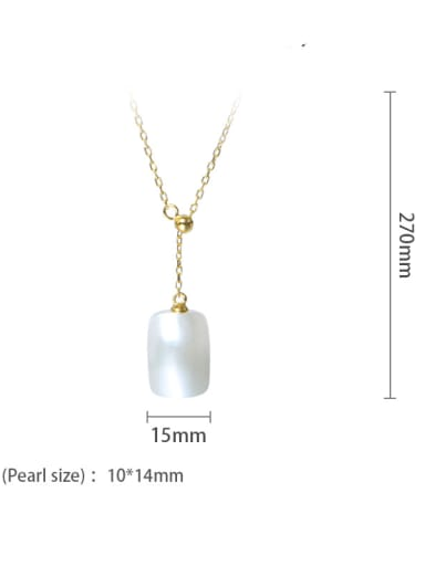 Brass Shell Pearl Minimalist Geometric  Earring and Necklace Set