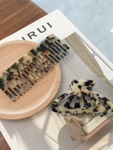 Rice tortoise suit Cellulose Acetate Vintage Comb hairpin two-piece set