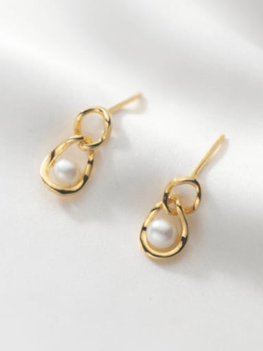 925 Sterling Silver Imitation Pearl Geometric Minimalist Drop Earring