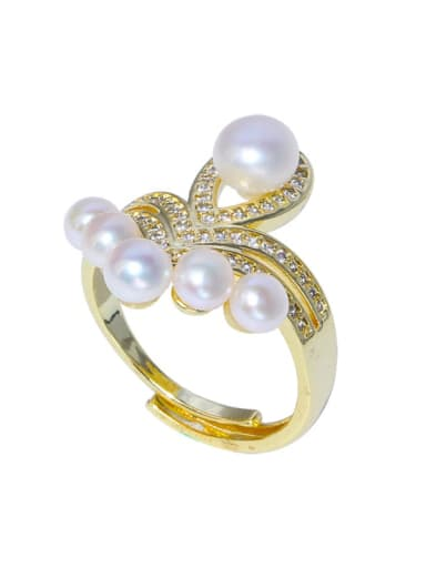 Brass Freshwater Pearl Flower Vintage Band Ring