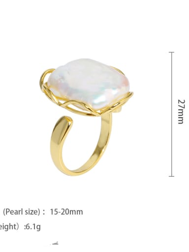 golden Brass Freshwater Pearl Geometric Vintage Midi Ring