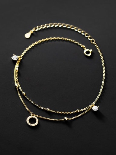 925 Sterling Silver Rhinestone Geometric Minimalist  Double layer  Anklet