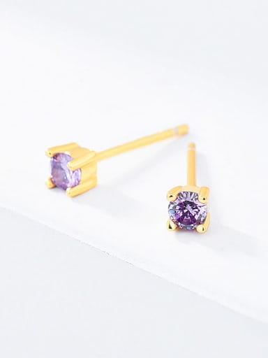 Purple glass 925 Sterling Silver Cubic Zirconia Round Minimalist Stud Earring