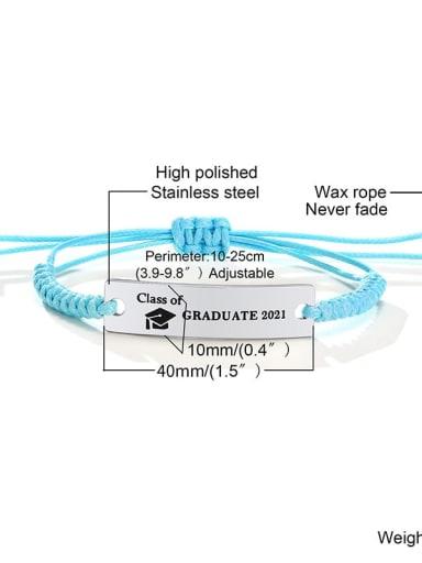 Blue rope 13 Stainless steel Geometric Minimalist Woven Bracelet