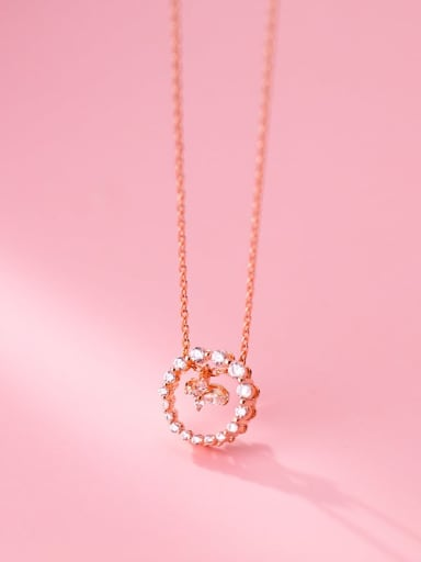 rose gold 925 Sterling Silver Cubic Zirconia Round Minimalist Necklace