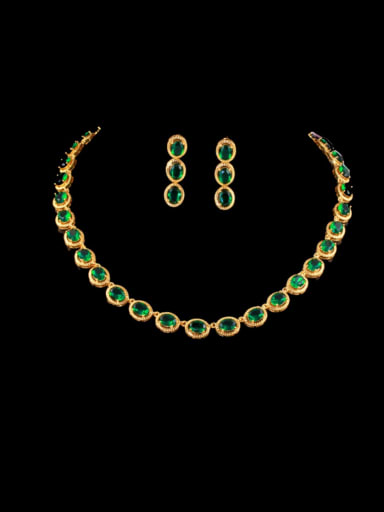 green Brass Cubic Zirconia Luxury Round Earring and Necklace Set