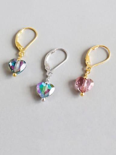 925 Sterling Silver Crystal Multi Color Heart Minimalist Huggie Earring