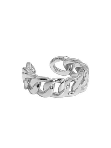 Platinum [13 adjustable] 925 Sterling Silver Geometric Vintage Band Ring