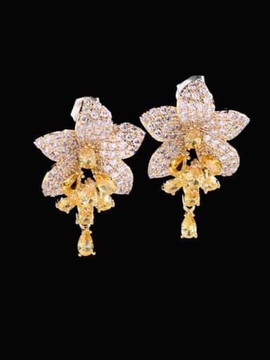 yellow Brass Cubic Zirconia Flower Luxury Cluster Earring