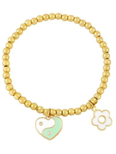 Green white Brass Enamel Evil Eye Minimalist Beaded Bracelet