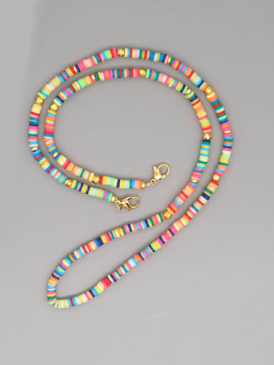 Stainless steel Bead Multi Color Polymer Clay Round Bohemia Hand-woven Necklace