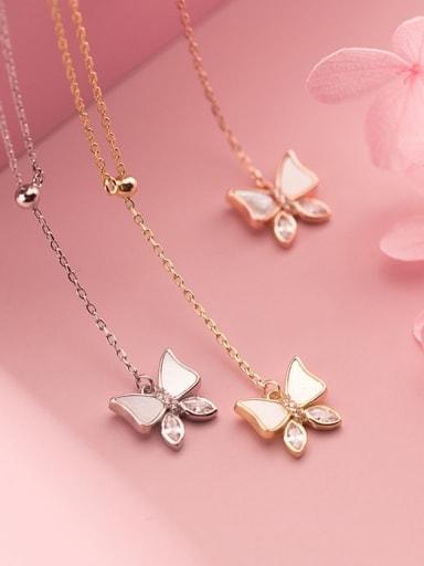925 Sterling Silver Shell Butterfly Minimalist Tassel Lariat Necklace