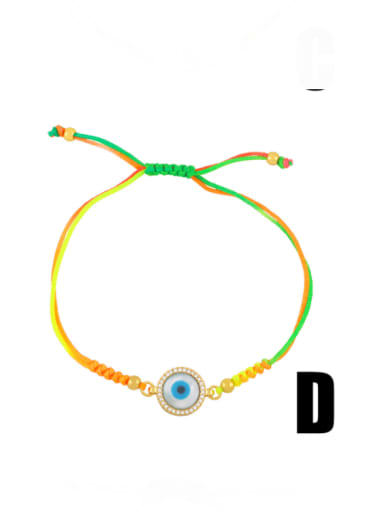 D Brass Enamel Evil Eye Bohemia Adjustable Bracelet