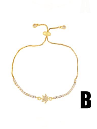 B Brass Cubic Zirconia Smiley Minimalist Adjustable Bracelet