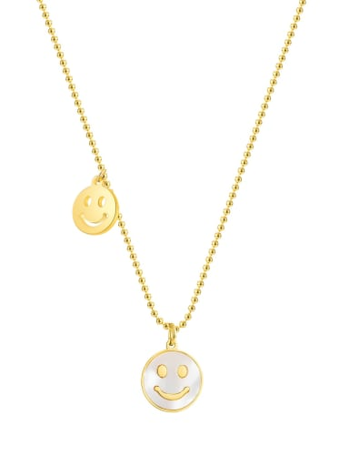 2037 gold necklace Titanium Steel Shell Smiley Minimalist Necklace