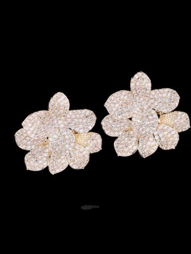 White Brass Cubic Zirconia Flower Luxury Cluster Earring