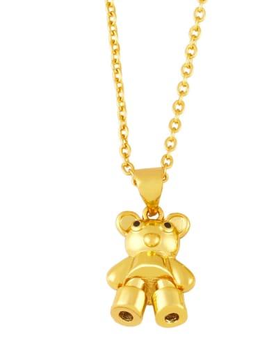 Brass Icon Cute Little bear leopard head Pendant Necklace