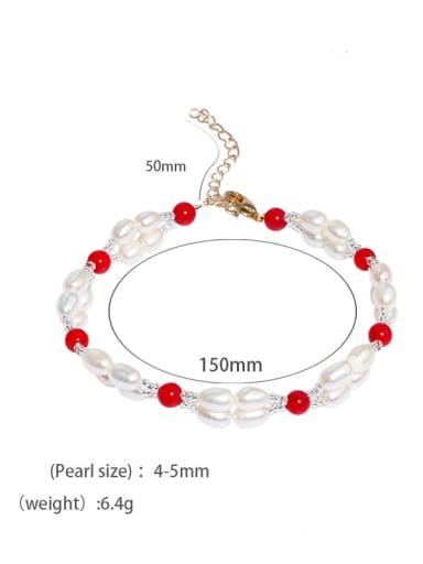 A Brass Freshwater Pearl Geometric Vintage Strand Bracelet