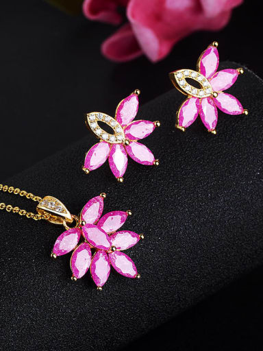 Classic Leaf Copper Cubic Zirconia Earring and Necklace Set