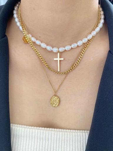 Titanium Imitation Pearl Minimalist Regligious Necklace