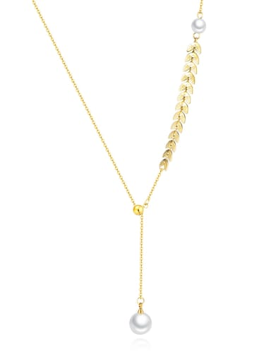 Wheat ear 1649 Titanium Rhinestone Number Minimalist Necklace