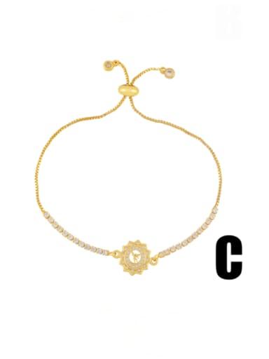 C Brass Cubic Zirconia Smiley Minimalist Adjustable Bracelet