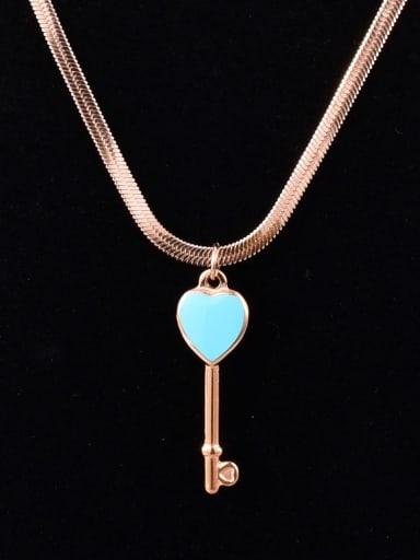 Titanium Steel Enamel Key Minimalist Necklace