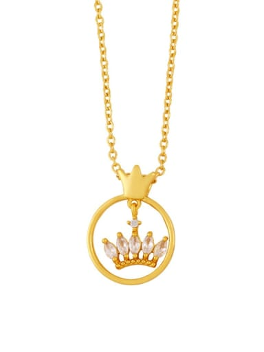 an crown Brass Cubic Zirconia Crown Butterfly Hip Hop Tassel Necklace