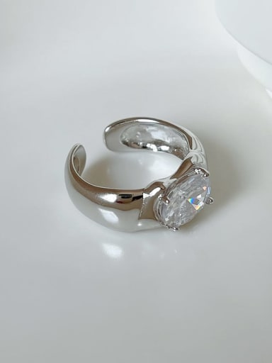 925 Sterling Silver Cubic Zirconia Irregular Vintage Band Ring
