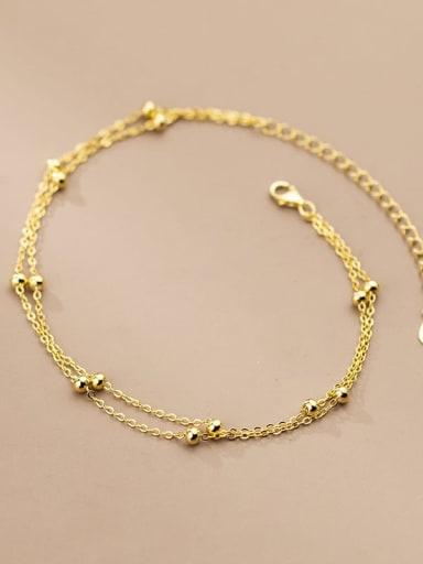 925 Sterling Silver  Geometric Minimalist Bead Anklet