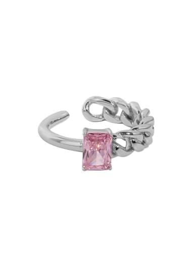 White gold [pink stone] 925 Sterling Silver Cubic Zirconia Irregular Minimalist Band Ring