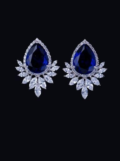 blue Brass Cubic Zirconia Water Drop Luxury Cluster Earring