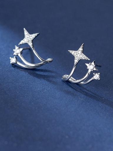 925 Sterling Silver Cubic Zirconia Star Minimalist Stud Earring