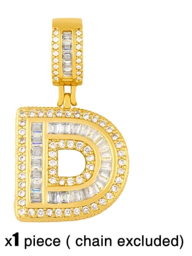 D (excluding chain) Brass Letter  Cubic Zirconia Vintage Pendant
