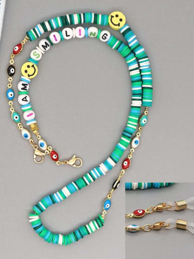 RT N200007D Stainless steel Bead Multi Color Polymer Clay Letter Bohemia Hand-woven Necklace