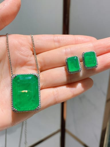 Brass Cubic Zirconia  Classic Rectangle Earring and Necklace Set