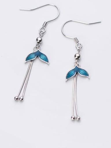 925 Sterling Silver Enamel Tassel Minimalist Hook Earring