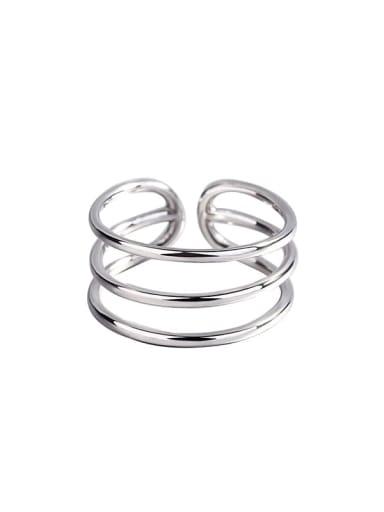 925 Sterling Silver Geometric Minimalist  three-line glossy  Midi Ring