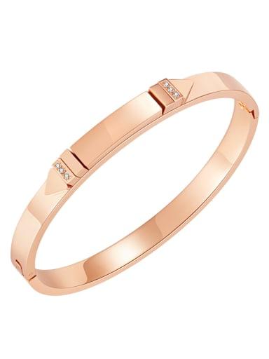 995 Rose Gold Plated Bracelet Titanium Steel Rhinestone Geometric Minimalist Band Bangle