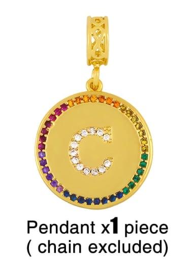 C (excluding chain) Copper Cubic Zirconia Rround Letter Minimalist Pendant