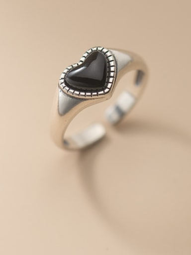 925 Sterling Silver Resin Heart Vintage Band Ring
