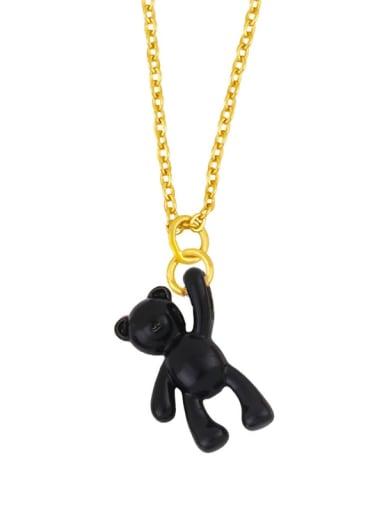 black Brass Multi Color Enamel  Cute Bear Pendant Necklace