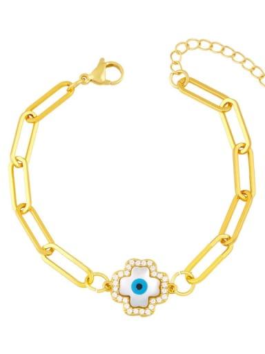 B Brass Cubic Zirconia Enamel Evil Eye Vintage Link Bracelet