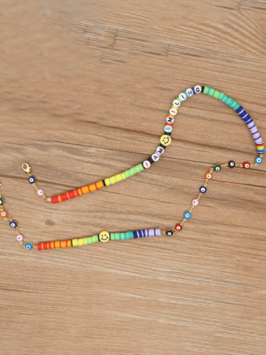 KR N200001A Stainless steel Bead Multi Color Polymer Clay Letter Bohemia Hand-woven Necklace