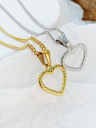 Titanium Steel Minimalist  Hollow Heart  Pendant