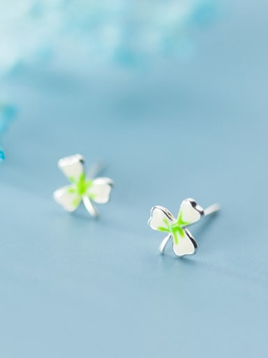 925 Sterling Silver Enamel Flower Cute Stud Earring